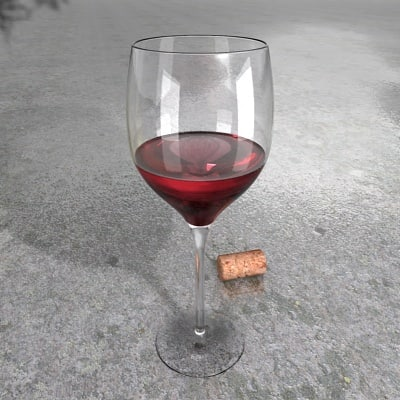 3ds Max Resolution Red Wine Glass Materials