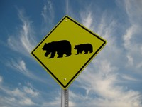 3d model bear crossing sign