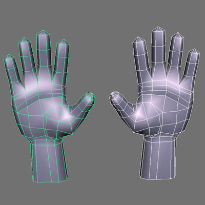 low poly hands basemesh