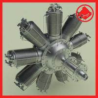 ww1 clerget rotary engine 3d max