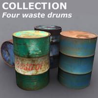 3d model drum waste