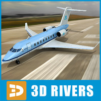 3d model of bombardier challenger 605