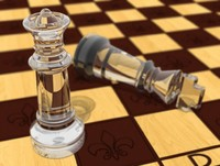 3d chess board glass model