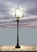 old street lamp light obj