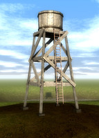 3d old water tower model