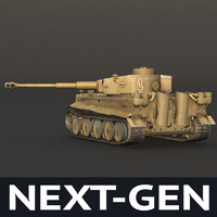 WWII Tiger tank desert color - next-gen model
