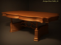 3d antique diner table 01