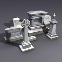 3d set gravestones grave stones model