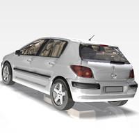 3d car peugeot 307 model