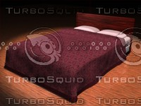 bed pillows headboard 3d model