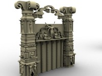 3d model architectural stone walls