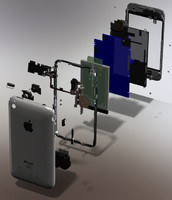 iPhone 3G dismantled and exploded in SolidWorks 3D CAD