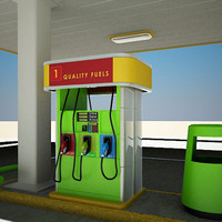 3d model gas station self