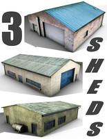 3d model 3 old sheds