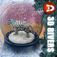 chinese snow globe white tiger 3d model