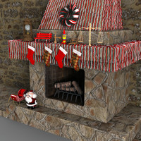 3d christmas fireplace