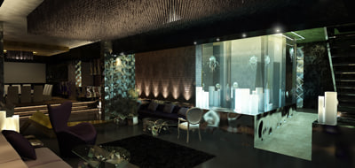 3d penthouse modern design - Penthouse, night shot, jelly fish, modern apartment - Inte... by wsader