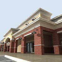 3d model custom retail building spanish
