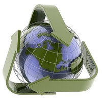 3d model globe recycle