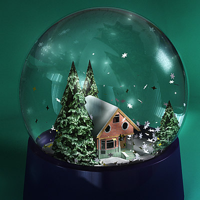 3d winter snow globe