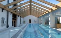 contemporary indoor swimming pool scene 3d model