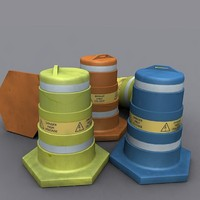3ds max bollard hazard caution