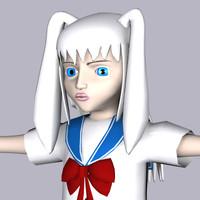 3d model manga girl