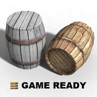 3d model closed wooden barrel -