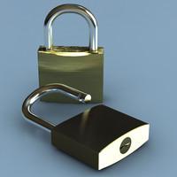 3d padlock lock model