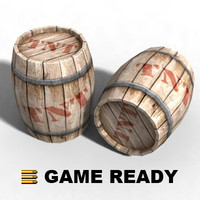Low Poly - Wooden barrel, explosive