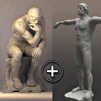 3d model of replica rodin thinker