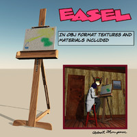 3d easel artist painted model