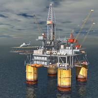 oil rig multi format c4d