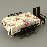 table cloth chairs 3d lwo