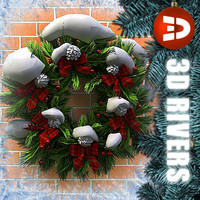 christmas wreath snow 3d model