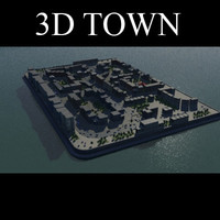 3d realistic town old