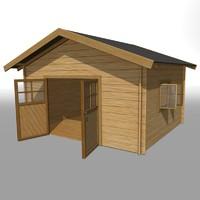 3d wooden garden house