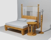Temenos Bed with Lamina bedside table and Palmus Floor Lamp.