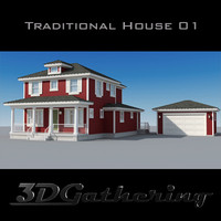 traditional house wood 3d max