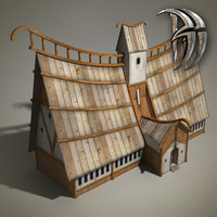 3d fantasy wood house model