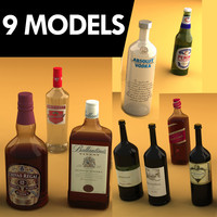 9 alcohol bottles