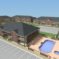 3d apartment buildings model