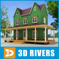 3d small town house building model