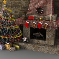 christmas tree fireplace 3d model