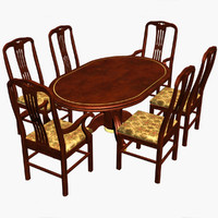 3d dining chairs wood table