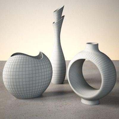 3dsmax contemporary vases modern set. Black Bedroom Furniture Sets. Home Design Ideas