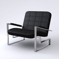 3d contemporary armchair black model
