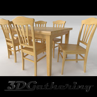 contemporary maple wood dining chair 3d model