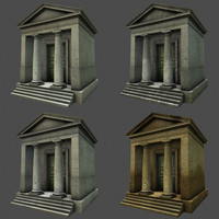 Low Poly classic Roman Temple building ,graveyard monument