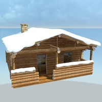 3d wooden cabin snow